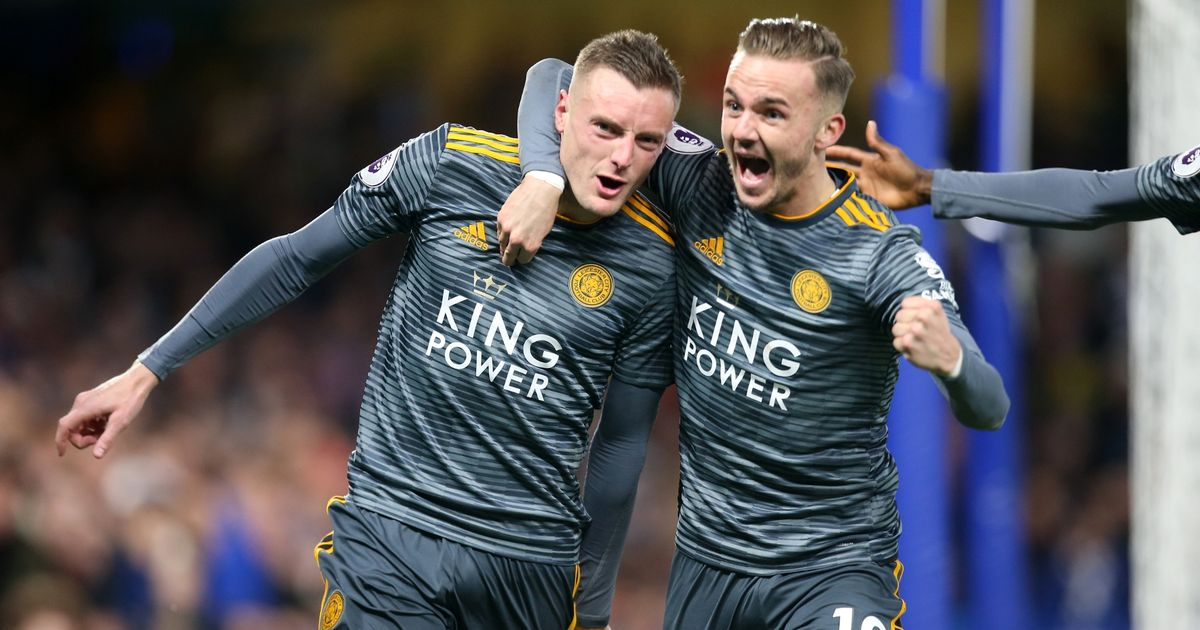 Jamie Vardy and James Maddison celebrate a 1-0 victory over Chelsea