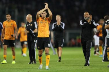 Wolves appluad their fans after beating Torino in the first leg of the Europa League Playoffs