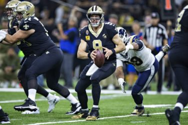 Drew Brees in action for the New Orleans Saints against the Los Angeles Rams.