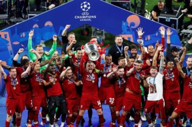 Liverpool celebrate winning the Champions League. Manchester City are favourites to win the 2019/2020 Champions League.