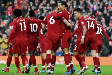 Liverpool celebrate a goal against Newcastle.