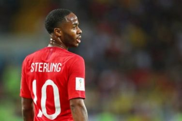 Raheem Sterling in action for England.