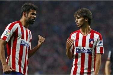 La Liga Week 10 - Atletico Madrid. Joao Felix and Diego Costa discuss on the pitch.