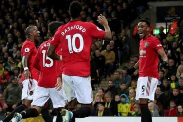 Anthony Martial celebrates after scoring against Norwich