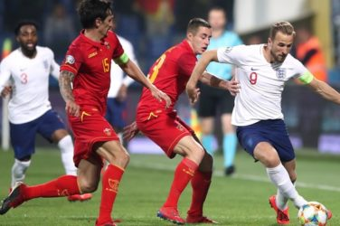 Harry Kane in action for England against Montenegro