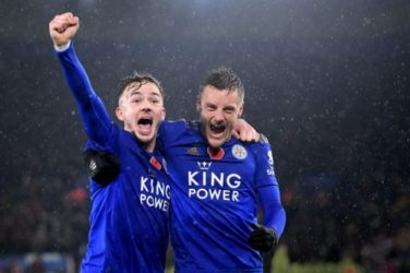 James Maddison and Jamie Vardy of Leicester City celebrate after scoring against Arsenal
