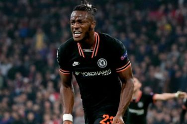 Michy Batshuayi celebrates after scoring for Chelsea against Ajax in the Champions League.