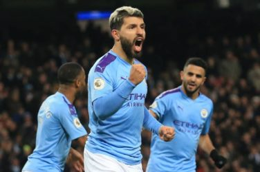 Aguero celebrates a Man City goal with Mahrez and Sterling.