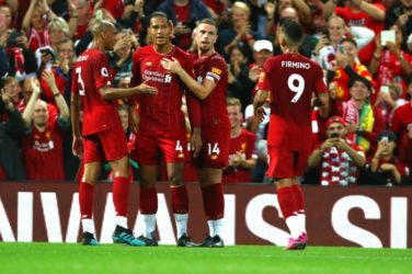 Liverpool celebrate after scoring against Norwich